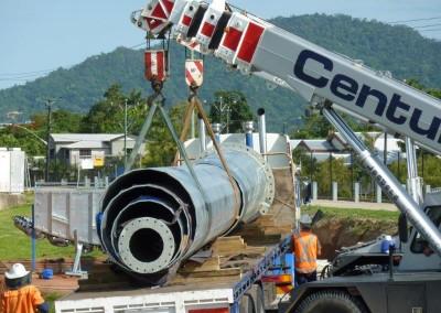 Unloading pole shafts, Cazaly's Stadium Cairns